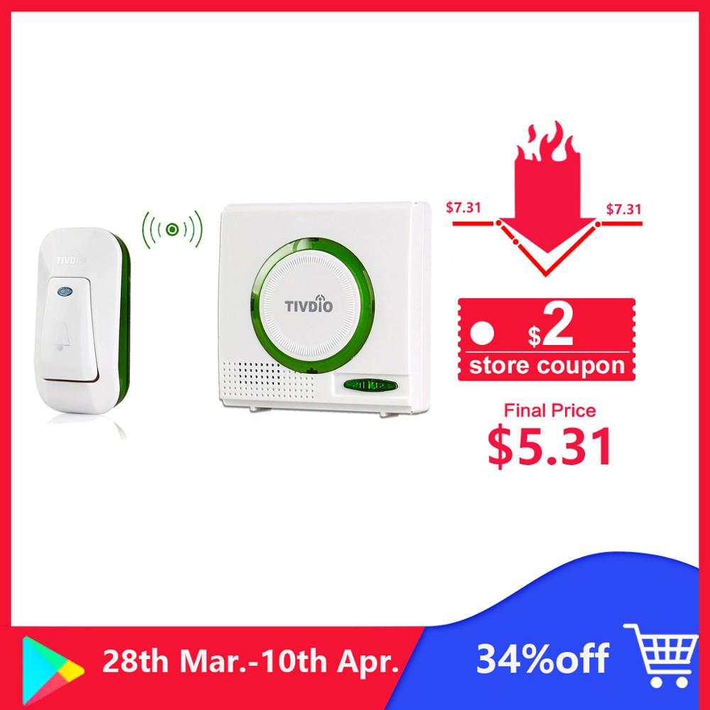 Wireless Battery Doorbell Chime Kit Remote Door Bell Button With Receiver LED Indicator F9508