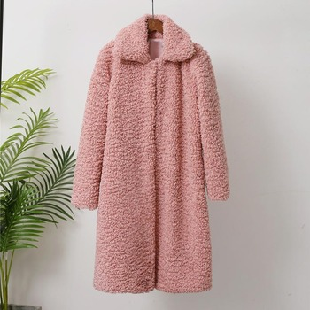Savabien/2019 зимнее теплое длинное пальто из искусственного меха для женщин, с отворотом, с длинным рукавом, из овечьей шерсти, поддельная Мехова