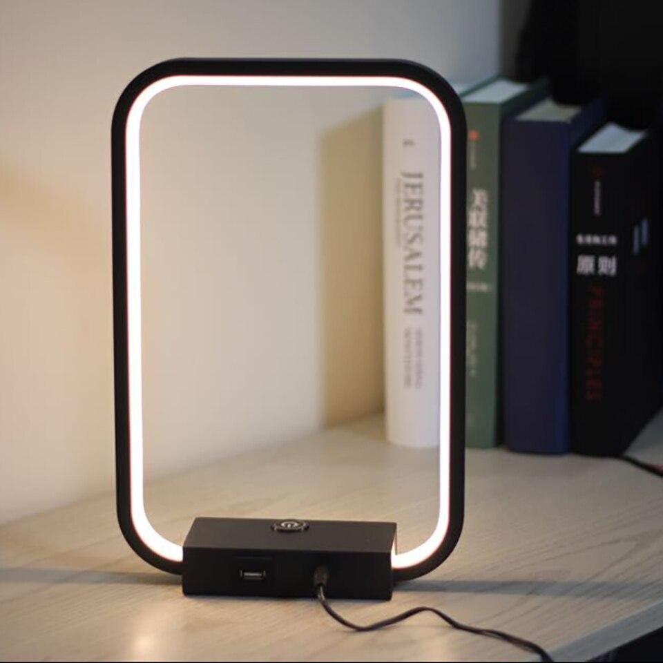 Lamplo 광장 LED 테이블 램프 현대 터치 디 밍이 가능한 책상 램프 미니 멀리 즘 침대 옆 램프 실내 장식 눈 보호 독서 빛
