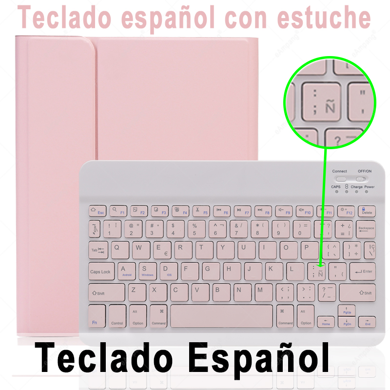 Spanish Keyboard Off White For iPad 10 2 2019 2020 Keyboard Case with Pencil Holder for Apple iPad 7th 8th