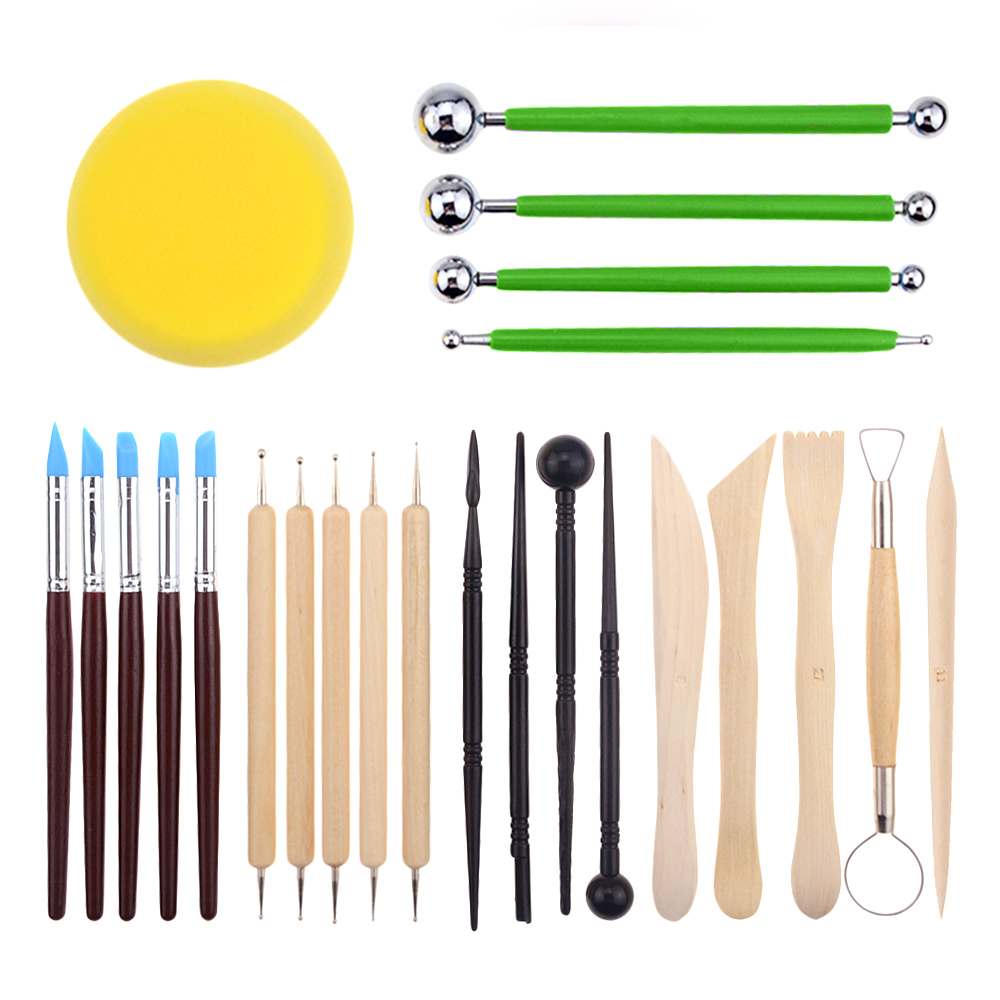 24 Pcs DIY Art Clay Pottery Tool set Crafts Clay Sculpting Tool kit Pottery & Ceramics Wooden Handle Modeling Clay Tools