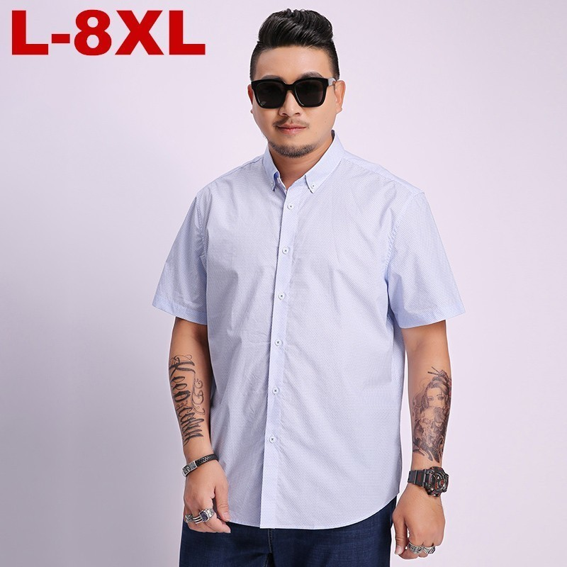 8xl 7XL 6XL 5XL Large Size  Men Shirt Fashion Shirt Short Sleeve Shirts, Cotton Men Social Man Polka Dot Casual Plus Size