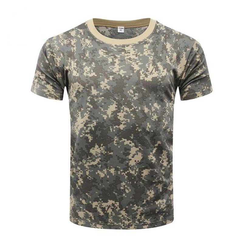 Na świeżym powietrzu koszule moro Camping taktyczne koszulki mężczyźni piesze wycieczki polowanie szybkie suche krótkim rękawem Army Camo Military Airsoft koszule