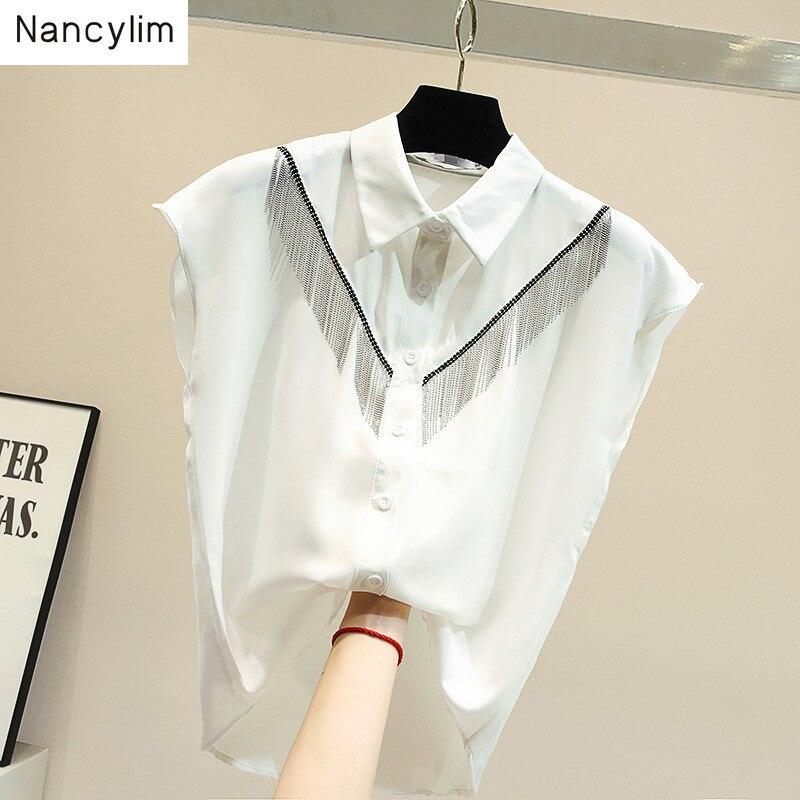 Femmes sans manches gland chemise noire lâche blanc chemises Chic mode tempérament Blouse Slim taille hauts dames été