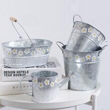 Metal Iron Bucket Flower Pot Embossed Home Living Room Garden Plant Decoration Gardening Supplies