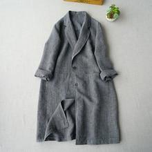 Donne pendolarismo delle texture di lino giacca a vento di primavera 2019 nuovo vestito allentato lino cappotto di media lunghezza trincea casuale