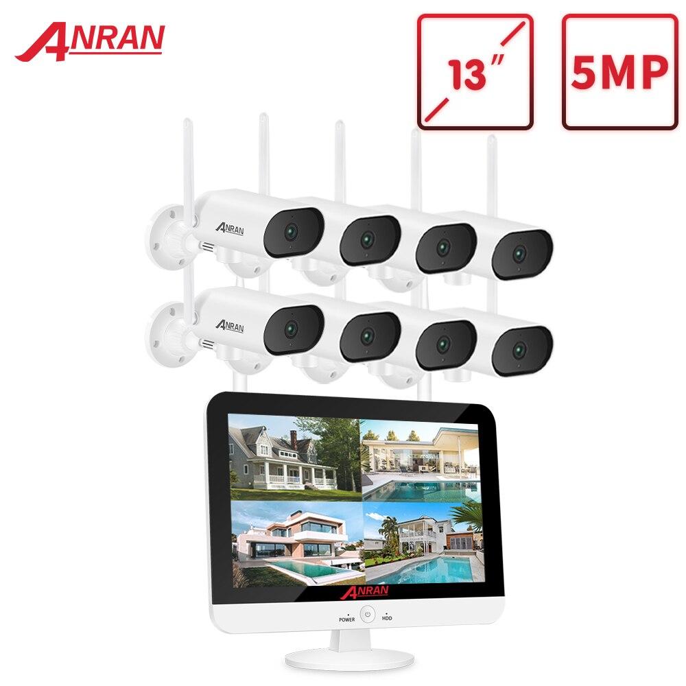 ANRAN 1920P Pan&tilt Camera Set Security Surveillance Camera Kit 13-inch Wireless Monitor NVR System Wifi Audio CCTV Camera Kit