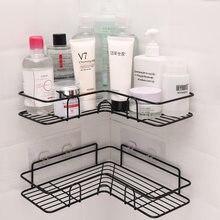Cozinha do banheiro soco canto quadro chuveiro prateleira de ferro forjado shampoo rack armazenamento titular com ventosa acessórios do banheiro