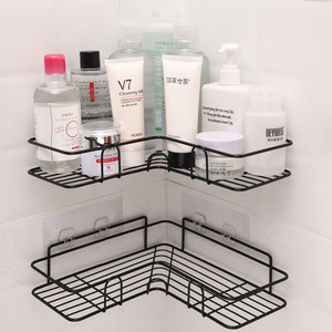 Bathroom kitchen Punch Corner Frame Shower Shelf Wrought Iron Shampoo Storage Rack Holder with Suction Cup bathroom accessories(China)