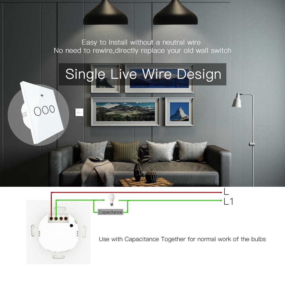 Image 2 - No Neutral Wire Needed WiFi RF433 Smart Wall Switch Smart Life Tuya Remote Control Single Fire Work with AlexaSwitches   -