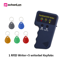 Handheld 125KHz EM4305 T5577 RFID Readers Writer Copier Programmer Duplicator  Writer Writable ID keyfobs Tags Card english rfid nfc copier reader writer duplicator 10 frequency programmer with color screen 5pcs t5577 em4305 cards 5pcs uid key
