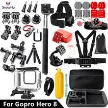 SnowHu עבור Gopro גיבור 8 שחור סט 45M מתחת למים עמיד למים מקרה דיור הצלילה המצלמה Pro עבור אבזר GS93