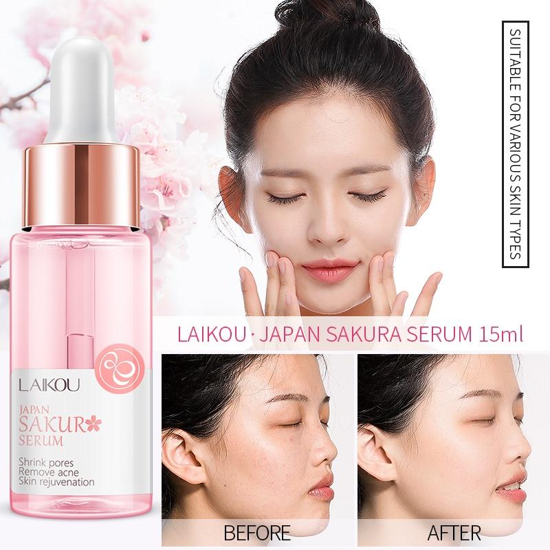 Dropship Sakura Face Serum Japan Skin Care Shrink Pores Remove Acne Liquid Moisturizing Face Essence Brighten Skin Serum 15ML