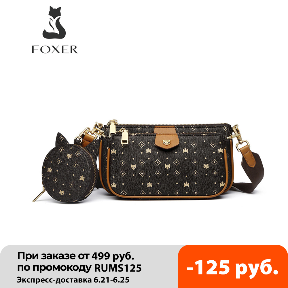 FOXER 2020 New 3 in 1 Crossbody Monogram Bags Signature Women Bag Removable Coin Purse PVC Leather Female Fashion Shoulder Bags|Top-Handle Bags| - AliExpress