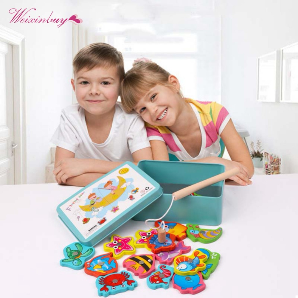 1 Set Iron Box Fishing Wooden Game Set Baby Educational Toy Cognition Magnetic Toys Set Kids Gifts