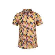 Мужская гавайская рубашка с коротким рукавом, летняя пляжная рубашка с цветочным принтом
