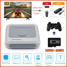Console de jogos de vídeo super console x hd para psp/ps1/n64/dc embutido 50000 + jogos retro console de jogos de tv sistema linux de código aberto