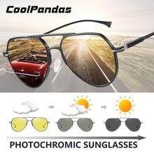 CoolPandas marka Pilot okulary mężczyźni kobiety fotochromowe dzień jazda nocą spolaryzowane okulary przeciwsłoneczne Chameleon anteojos de sol hombre