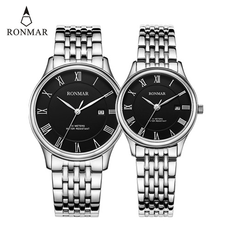 Couple Watch RONMAR Silver Quartz's  Watch Women Men Stainless Steel Strap Lovers' Watch Fashion Watches Relojes Para Hombre