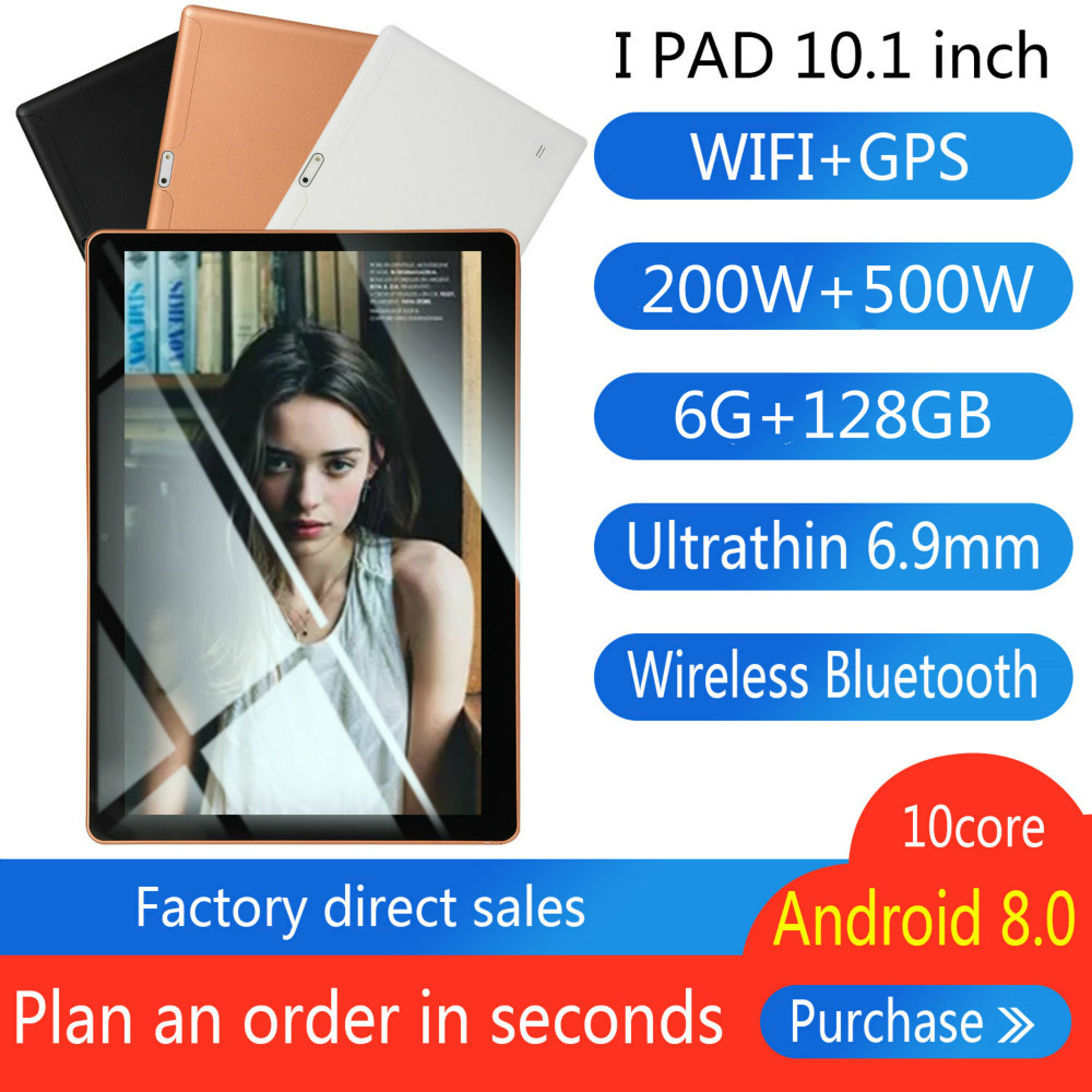 10.1 Inch For Android 8.1 Plastic Tablet PC 6GB+128GB Ten-Core WIFI Tablet 5.0MP Camera Dual SIM Camera 4G Wifi Phone Phablet