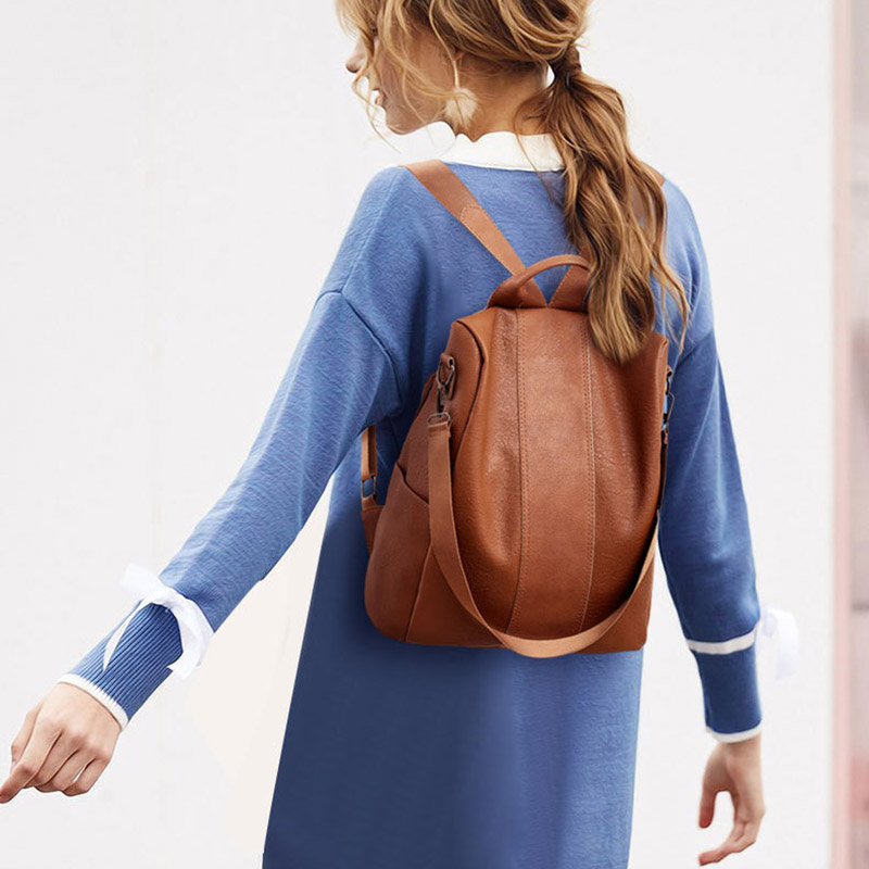 Hot High Quality PU Leather Backpack Women Patchwork Casual Anti-Theft Backpacks CNT 66