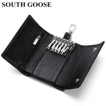 SOUTH GOOSE Genuine Leather Key Wallet Multifunction Keys Organizer Men Card Keychain Cover Women Housekeeper Case Coin Purses