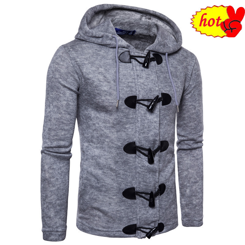 style top New winter casual sweater men's keep warm national wind Hooded Sweater thickening coat men Horn button decorate