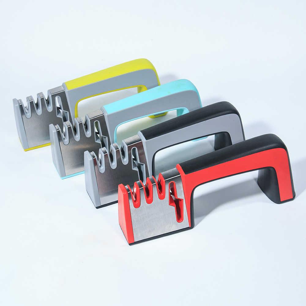 4 in 1 Messer Spitzer Keramik Küche Messer Scheren Schere Schärfen Tools Diamant Beschichtete Non-slip Basis Edelstahl