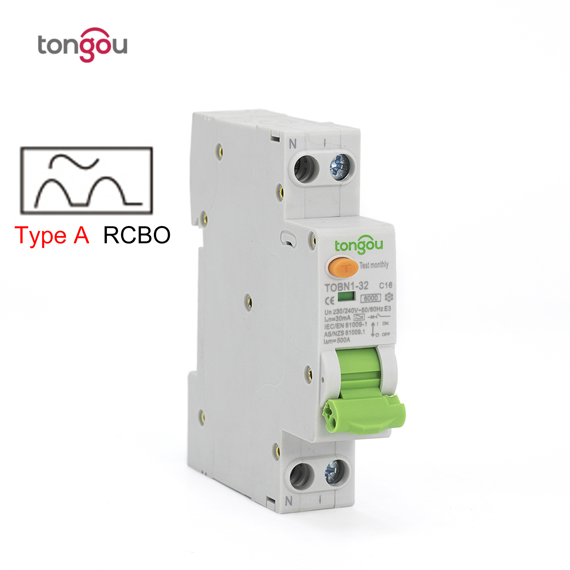 Type A RCBO 6KA 18mm 6A 10A 20A 25A 32A 30mA 1P+N Residual Current Circuit Breaker with Over Current and Leakage Protection