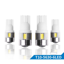 T10 501 Super Bright 6 SMD 5630 LED Projector Lens Auto Wedge Lamp WY5W W5W Car Marker Lights Parking Bulb DC 12V