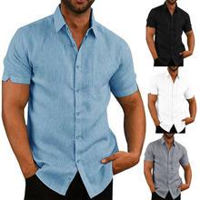 Nova marca de verão casual men linho manga curta sólido camiseta casual masculino solto vestido blusa macio magro t topos
