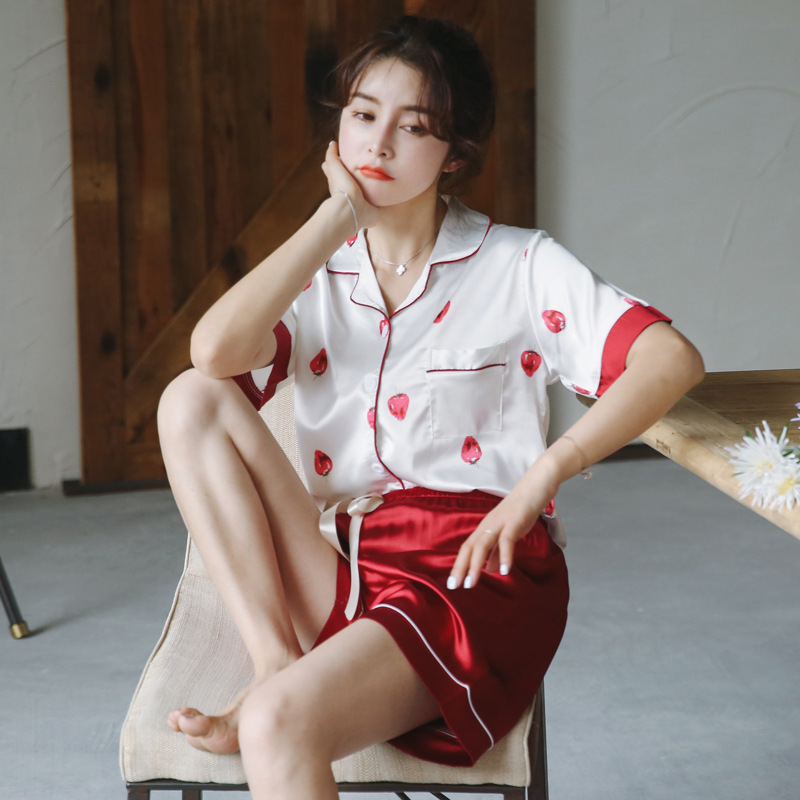2020 Summer Short-Sleeved Shorts Color Collar Cardigan Printed Strawberry Silk Women's Pajamas And Leisure Wear Lingerie