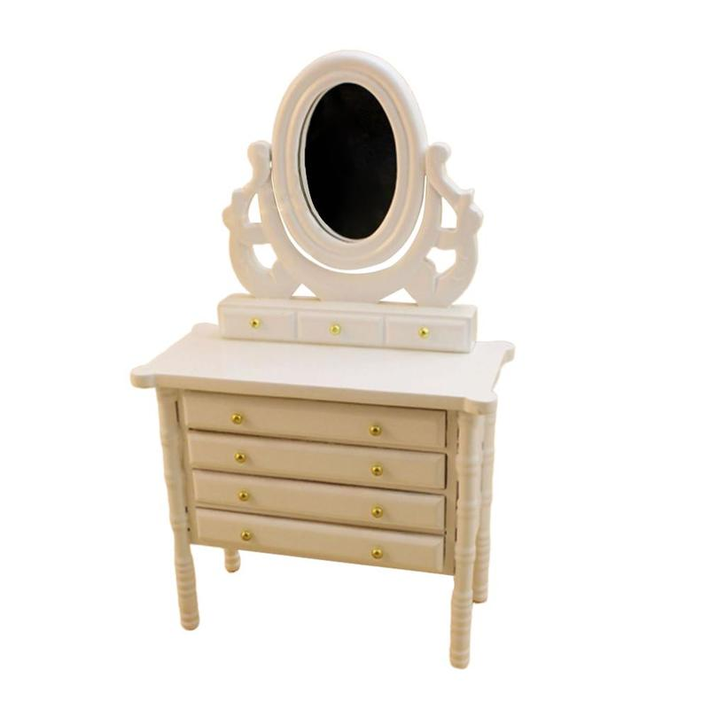 White Wooden Dressing Table With Drawers 1:12 Dollhouse Mini European Furniture Model For Doll House Decoration Accessories
