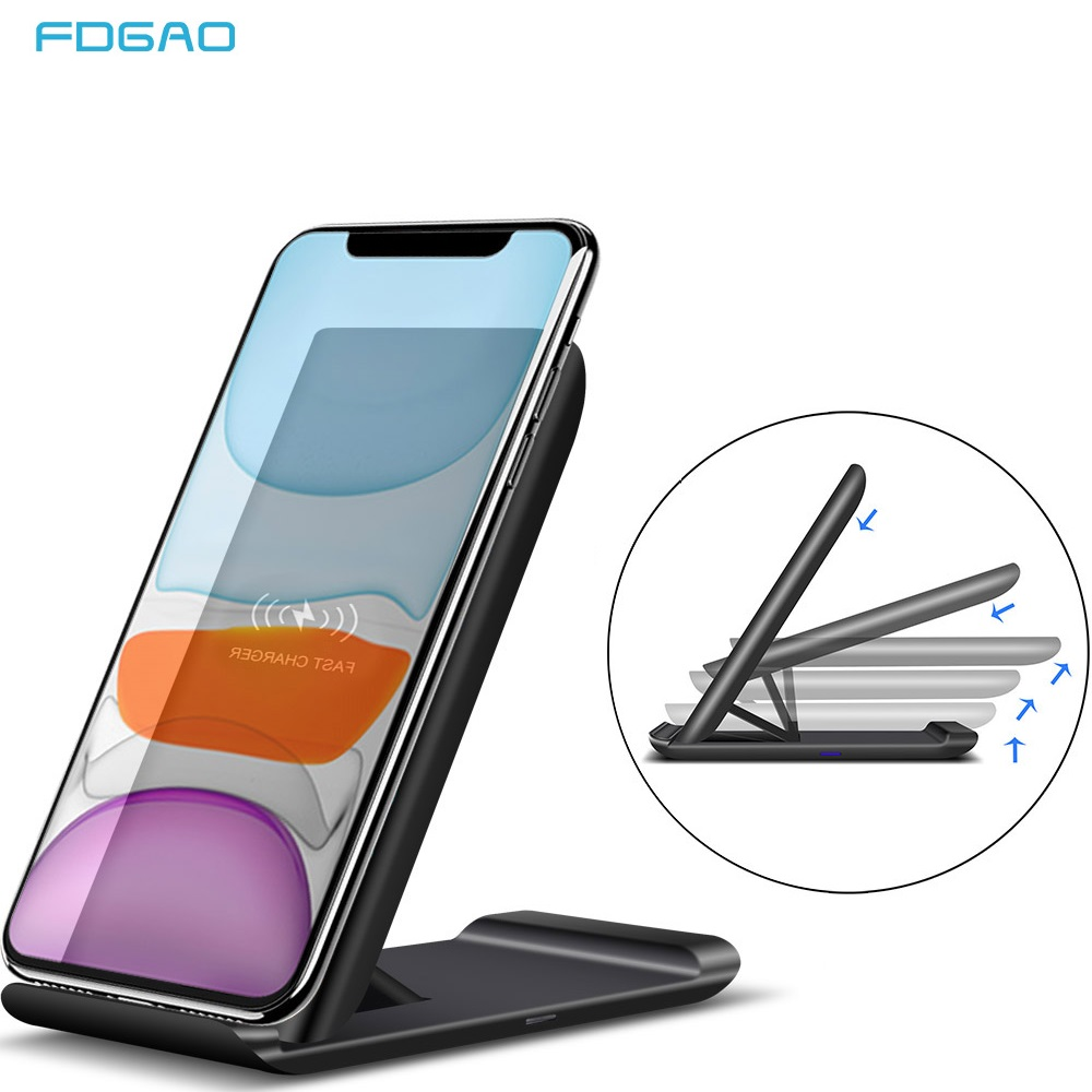 FDGAO 15W Qi Wireless Charger Fold Stand Fast Charging Holder for iPhone 11 Pro XR X XS Max Samsung S20 S10 Phone Charge Station