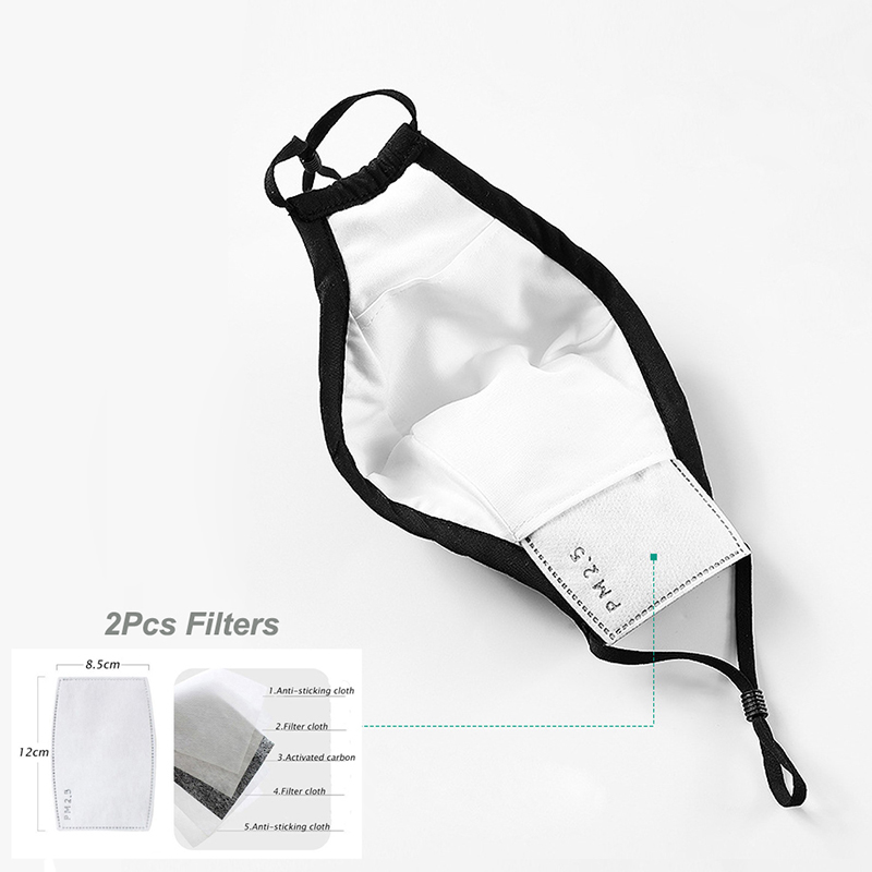 Fashion Man Woman Cotton Breath Valve PM2 5 Face Mouth Mask Activated carbon filter respirator Mouth-muffle 2
