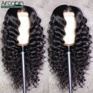 Aircabin 30 32 Inch 13x6 lace Front Closure Wigs Loose Deep Wave Brazilian Remy Human Hair Wigs 150 High Density For Black Women(China)