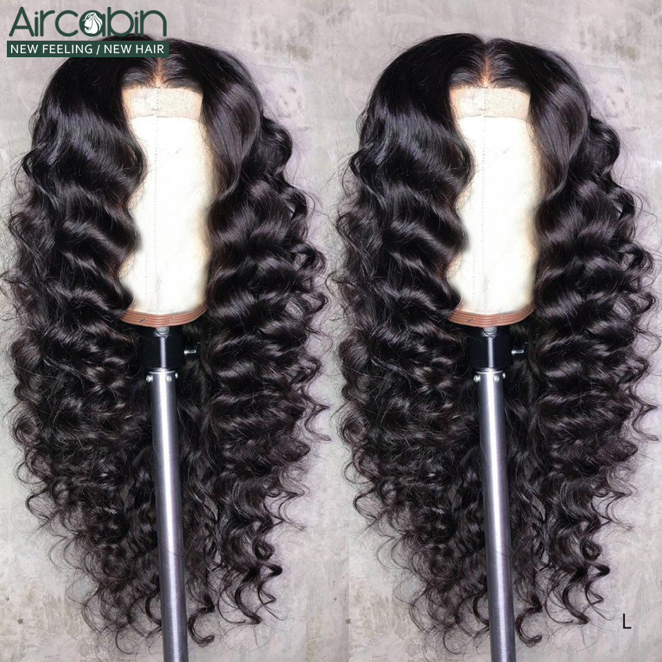 Aircabin 30 32 Inch 13x6 lace Front Closure Wigs Loose Deep Wave Brazilian Remy Human Hair Wigs 150 High Density For Black Women