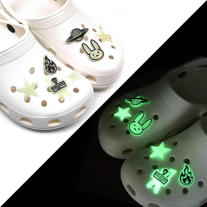 NEW C Bad Bunny Inspired GLOW//DARK Shoe Charms For Crocs Clogs 5 PC SET #1