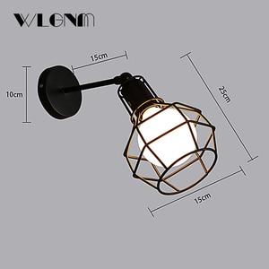 Image 4 - בציר מנורת קיר תעשייתי קיר אור LED פמוט אמריקאי רטרו קיר מנורת מתכת כיסוי אור עיצוב הבית תאורה קבועה