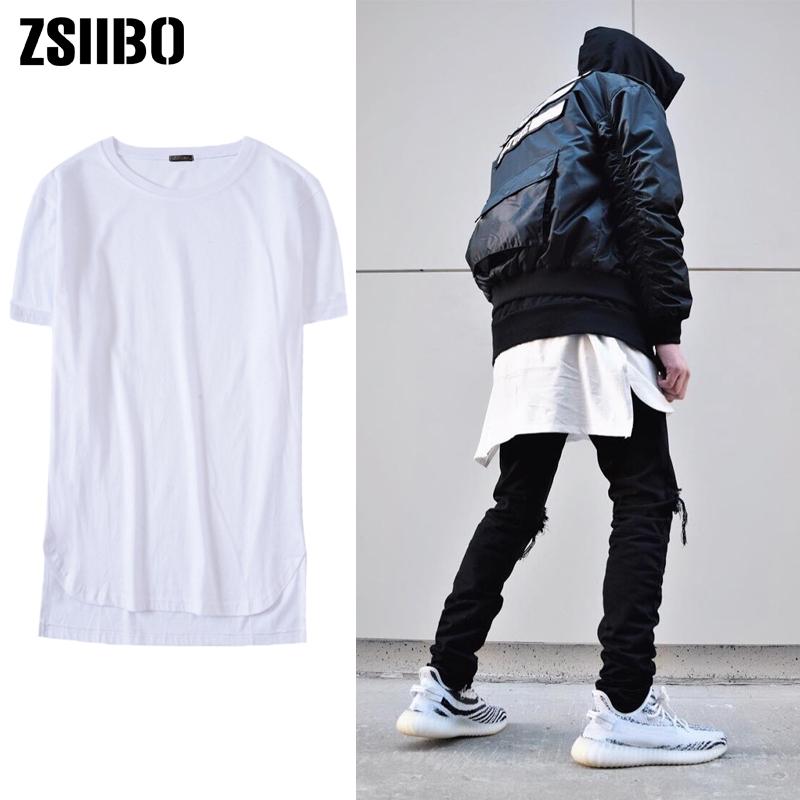 Hip hop Extended High Street T Shirt Men Fashion Street Unisex Short sleeve Tshirt Long line Streetwear Oversize Men's T shirt