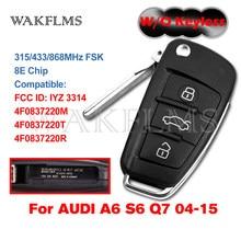 Para Audi A6 S6 Q7 2004-2015 Controle Remoto Chip De Chave Do Carro Fob 8E W/O de Proximidade Keyless IYZ 3314 4F0837220R 4F0837220M 4F0837220T