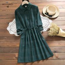 Tiki tarzı sonbahar bahar Vintage mavi yeşil ekose gömlek elbise kadın Mori kız moda uzun kollu dize bayan tatlı elbise
