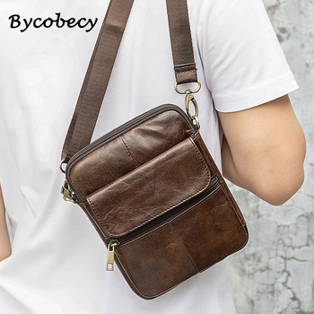 Bycobecy Man Shoulder Bag Crossbody Bags Anti Theft Chest Small Business Leather Vertical Trip New Mobile Phone Messengers