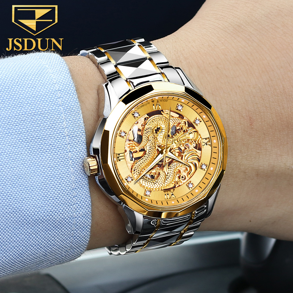 Dragon Skeleton Automatic Mechanical Watches For Men Wrist Watch Stainless Steel Strap Gold Clock 30m Waterproof Mens watch 8840