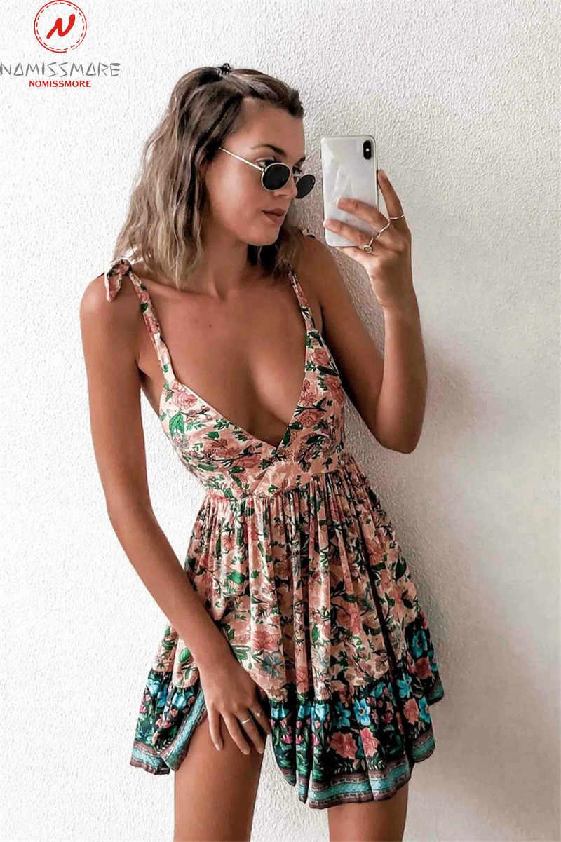 Sexy Frauen Sommer Bohemian A-Line Kleid Bandage Design Sling Ärmel V-ausschnitt Backless Leopard Blume Druck Dünnes Mini Kleid