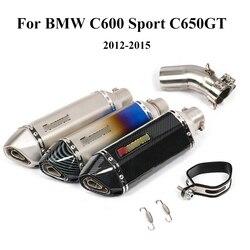 C600 Sport C650GT układ wydechowy motocykla środkowa rura łącząca tłumik do rury wydechowej z DB zabójca Slip On dla BMW 2012-2015