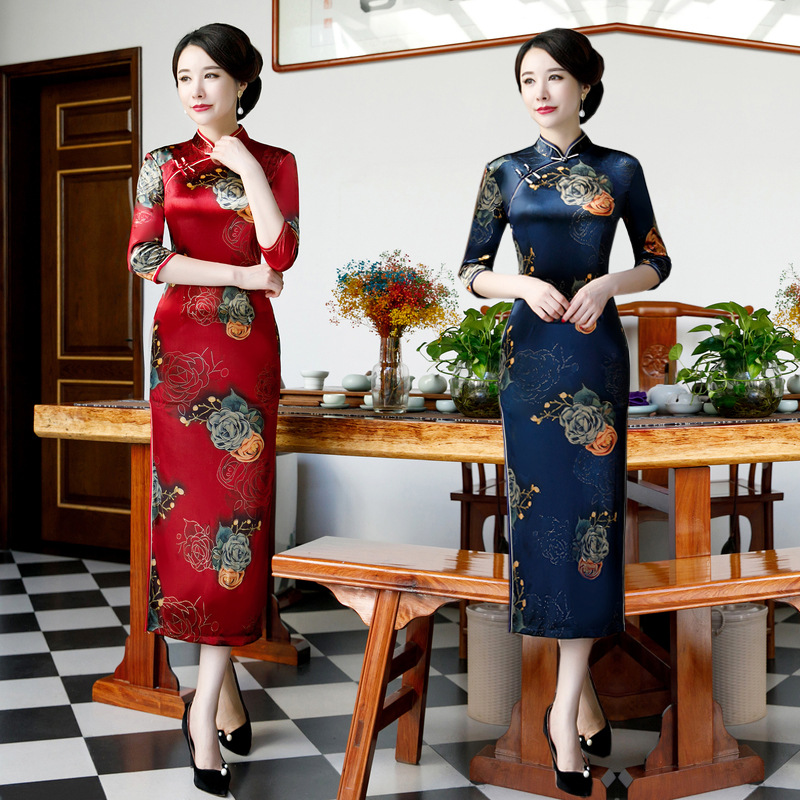 Novelty <font><b>Chinese</b></font> <font><b>Dress</b></font> <font><b>Sexy</b></font> Slim Velour Qipao Flower Elegant High Split Cheongsam Size M-5XL image