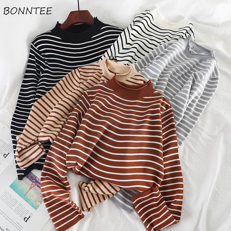 Sweaters Women Knitting Striped Student Elegant Loose All-match Turtleneck Daily Soft Korean Style Vintage Womens Clothing New