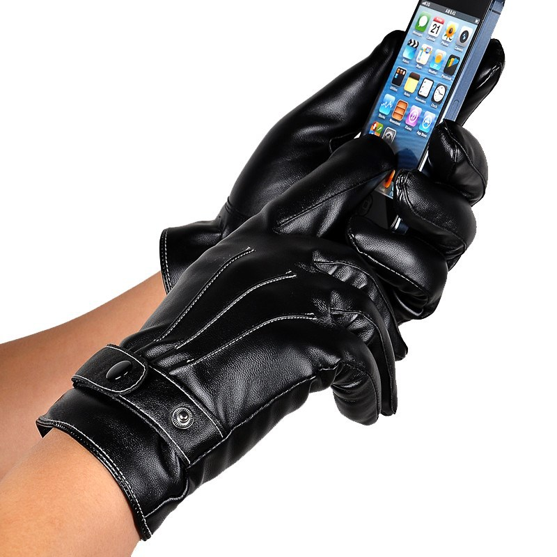 Men Winter Leather Black Gloves Button Warm Mittens Luxurious PU Leather Driving Men's Genuine