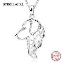 Strollgirlスターリングシルバー925かわいい動物犬ペットネックレス & ペンダント女性のファッションジュエリー女性のためのギフト